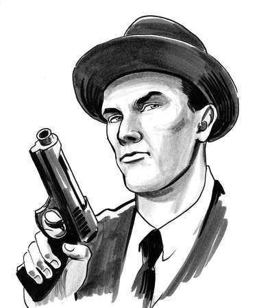 Gangster with a gun. Ink black and white drawing