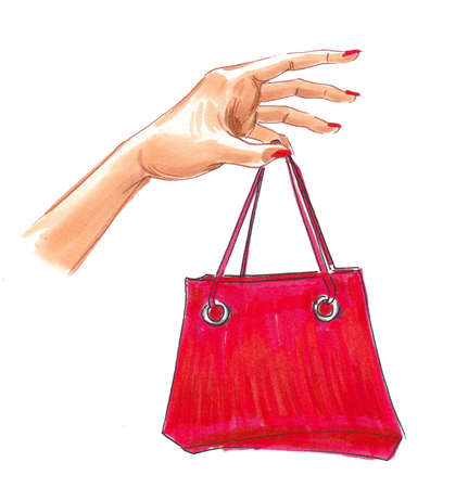 Hand holding red shopping bag. Ink and watercolor drawing