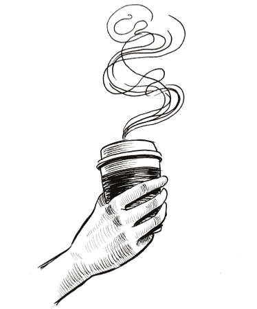 Hand with a cup of coffee. Ink black and white drawing