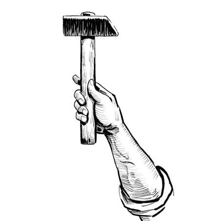 Hand holding hammer tool. Ink black and white drawing Zdjęcie Seryjne