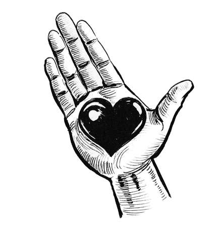 Hand holding a heart. Ink black and white drawing