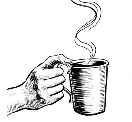 Hand holding cup of tea. Ink black and white drawing