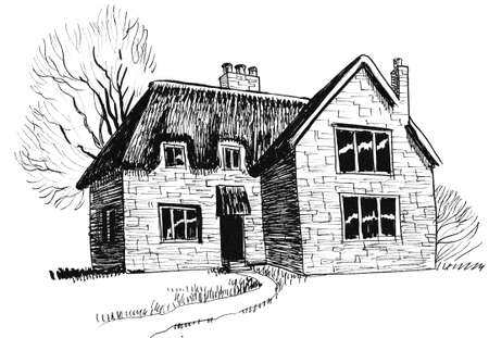 Old house in the countryside. Ink black and white drawing