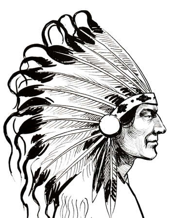 Indian chief. Ink black and white drawing Zdjęcie Seryjne