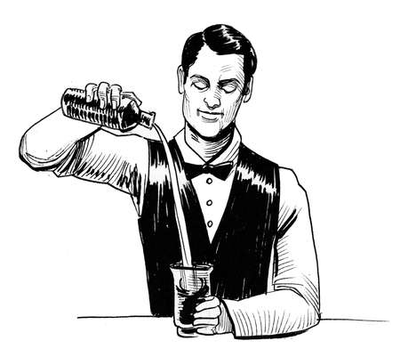 Bartender making an alcoholic cocktail. Ink black and white drawing
