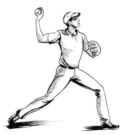 Baseball player throwing a ball. Ink black and whitedrawing