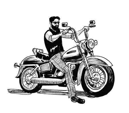 Biker on classic American motorcycle. Ink black and white drawing Zdjęcie Seryjne