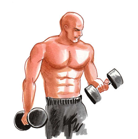 Bodybuilder working out with dumbbells. Ink and watercolor illustration