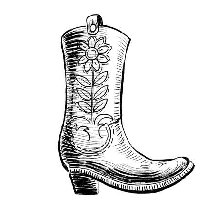 Cowboy boot. Ink black and white drawing