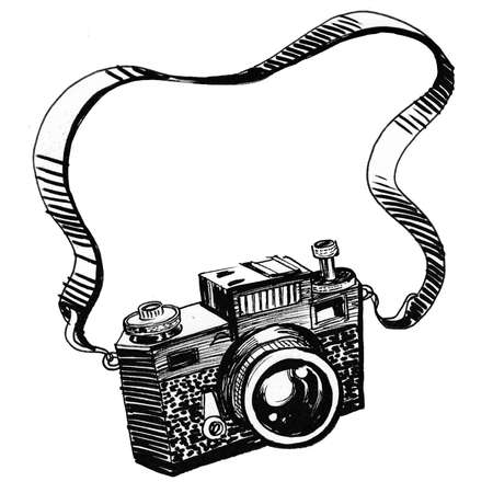 Vintage analog camera. Ink black and white drawing Zdjęcie Seryjne