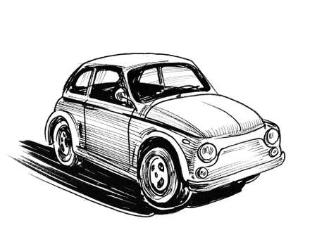 Vintage European, car. Ink black and white drawing
