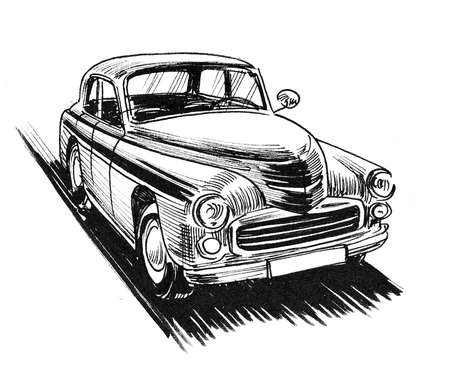 Vintage automobile. Ink black and whitedrawing