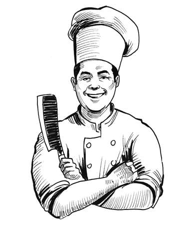 Chef with a knife. Ink black and white drawing