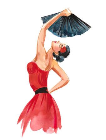 beautiful Spanish woman dancing Flamenco. Ink and watercolor drawing Standard-Bild