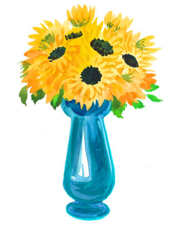 Yellow sunflowers in blue vase. Ink and watercolor illustration