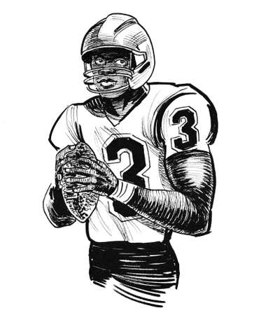 American football player with ball. Ink black and white drawing