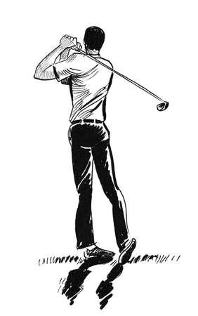 Golf player swinging. Ink black and white drawing