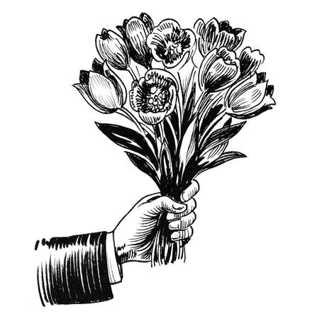 Hand giving flower bouquet. Ink black and white drawing Stock fotó