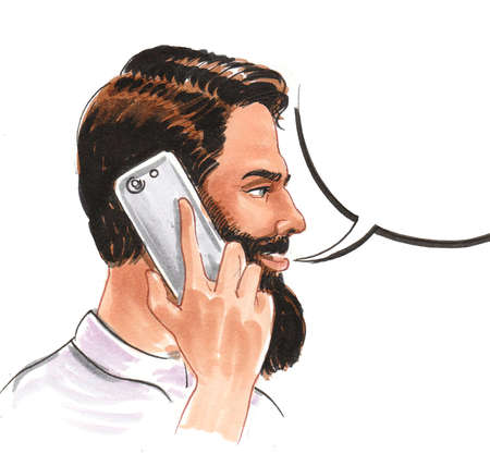Bearded young man speaking over the telephone