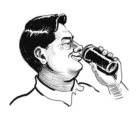 Happy man drinking from the can. Ink black and white drawing