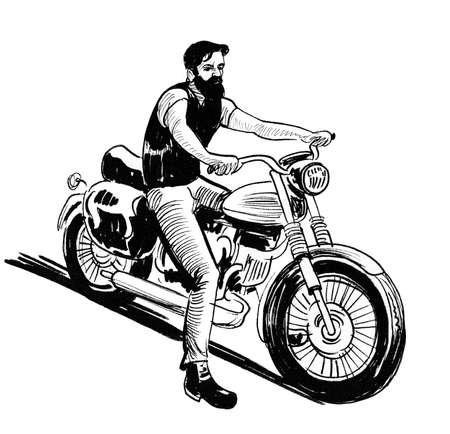 Biker riding classic American motorcycle. Ink black and white drawing