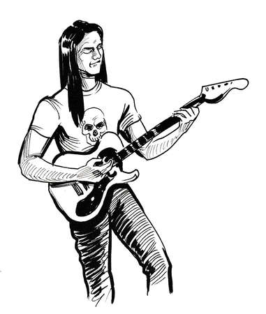 Rock musician playing electric guitar. Ink black and white drawing