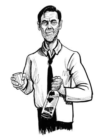 Alcoholic man with a bottle of vodka. Ink black and white drawing Zdjęcie Seryjne