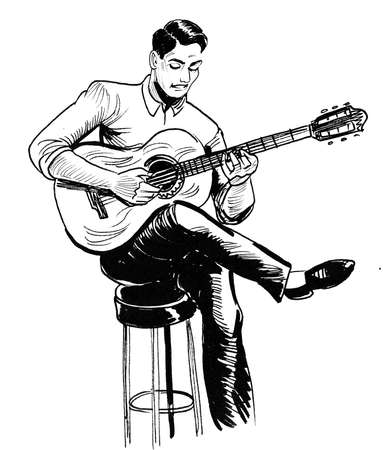 Young man playing acoustic guitar. Ink black and white drawing Zdjęcie Seryjne