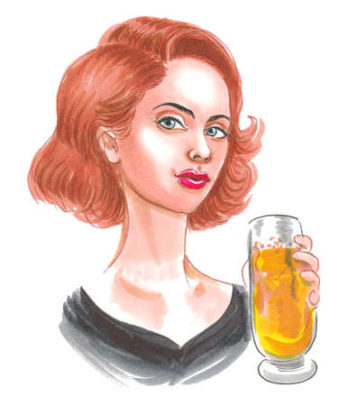 Pretty woman drinking a glass of beer. Ink and watercolor drawing