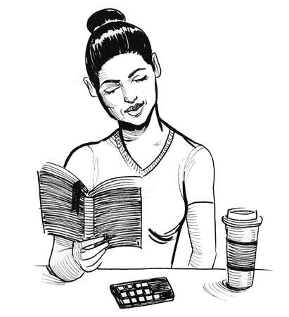 Pretty girl reading a book and drinking a coffee. Ink black and white drawing Stock fotó