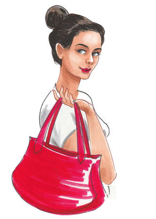 Pretty girl with a fashionable bag. Ink and watercolor drawing