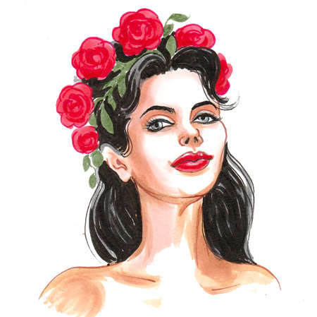 Beautiful brunette woman with a red flowers in her hair. Ink and watercolor illustration Stock fotó