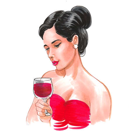 Beautiful brunette woman with a glass of red wine. Ink and watercolor illustration Stock fotó
