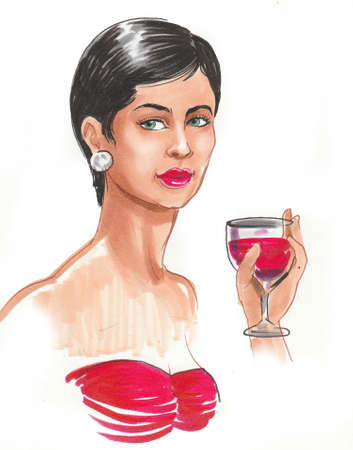 Pretty brunette woman with a glass of red wine. Ink and watercolor illustration