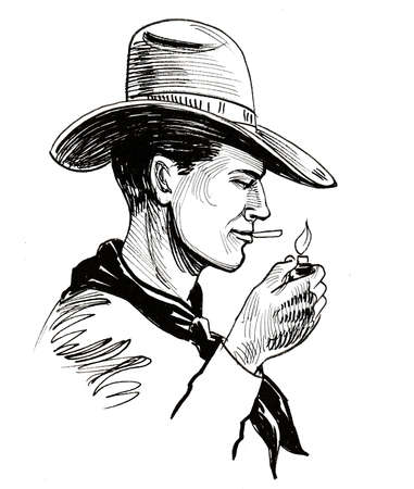 Cowboy character lighting a cigarette. Ink black and white drawing