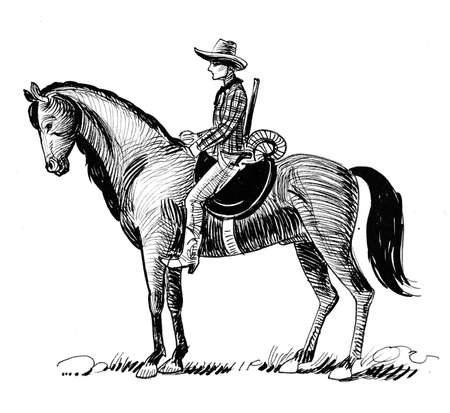 Cowboy riding a horse. Ink black and white drawing