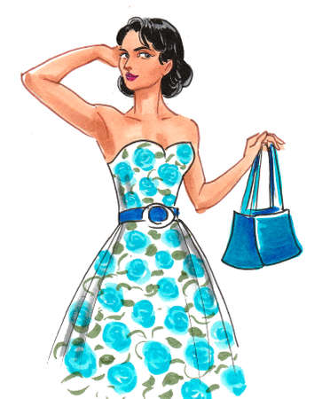Pretty woman in summer dress. Ink and watercolor drawing