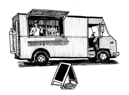 Classic American food truck. Ink black and white drawing