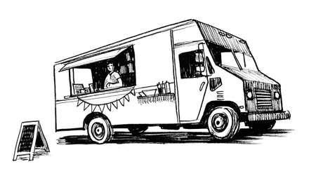 Vintage American food truck. Ink black and white drawing