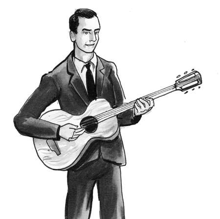 Young man playing electric guitar. Ink black and white drawing