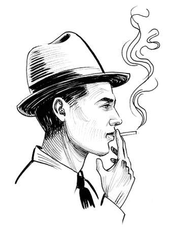 Americ Ganster smoking cigarette. Ink black and white drawing
