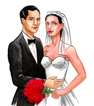 Newly wed couple. Ink and watercolor drawing