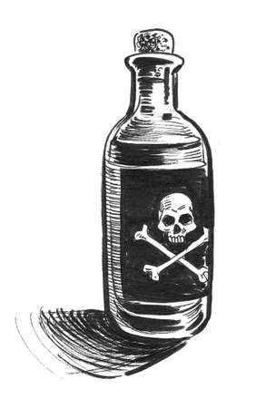 Bottle with poison. Ink black and white drawing