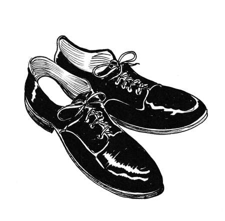 Pair of classical men's shoes. Ink black and white drawing Zdjęcie Seryjne