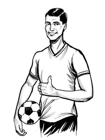 Soccer player with a ball showing big thumb. Ink black and white drawing