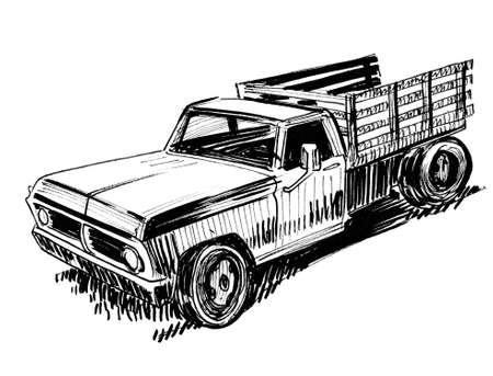 Vintage american pickup truck. Ink black and white drawing