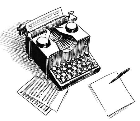 Vintage typewriter with sheet of papers. Ink black and white drawing