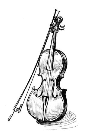 Violin musical instrument. Ink black and white drawing
