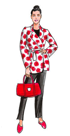 Pretty woman with a red bag. Ink and watercolor drawing