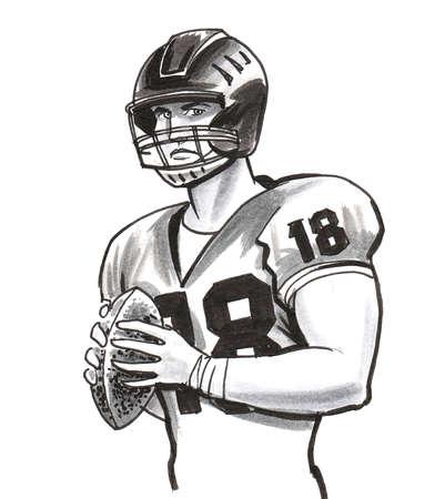 American football player illustration. Stok Fotoğraf
